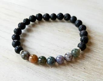 Mens stone bracelets ,black lava gemstone bracelet, stacking bracelet, healing bracelet, yoga bracelet, boho jewelry, mala beads bracelet