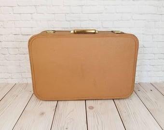 Vintage Tan Brown Starline Hardside Suitcase