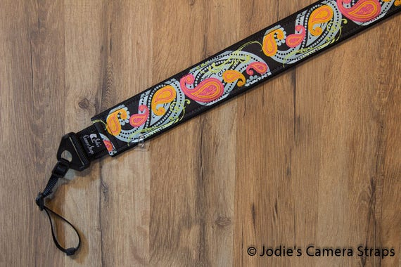 Camera Strap 2 in Wide Custom Padded Paisley Blue Pink Orange DSLR SLR