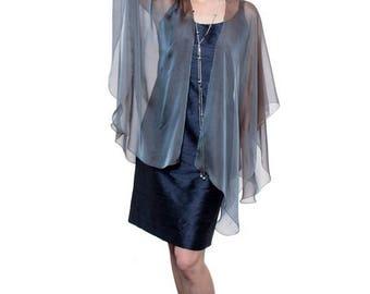 Promo Sale: Steel Blue Sheer Silk Cardigan Cape OLIVIA