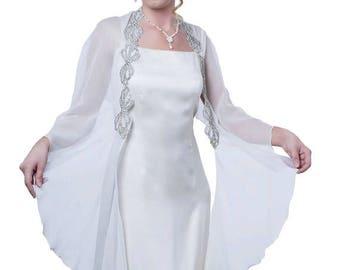 Promo Sale: Wedding Evening Silk Chiffon Shawl Wrap with  Rhinestones/ White. Grey, Black