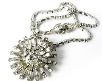 Vintage Mazer Starburst Necklace / Vintage Mazer Bros Brooch / Rhinestone Pendant / Atomic Rhinestone Starburst / Glamour Girl Jewelry