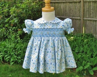 Size 6Mo. Smocked dress, Blue floral, White dress, Yellow flowers, Ready to ship, Baby shower, Baby girl dress, Heirloom, OOAK, Handmade