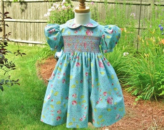 Girls smocked dress, size 2T, Aqua dress, Ready to ship, Pink flowers, Light teal, Classic, Party dress, Toddler, Special occasion, Birthday