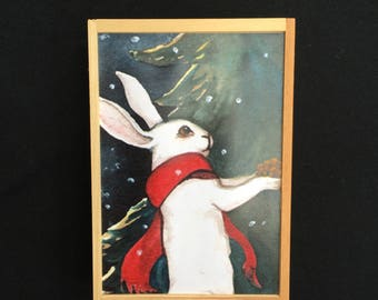 Winter bunny wall decor, art for wall, winter rabbit art piece, bunny shadowboxes, watercolored bunny, recycled pine box, red scarf bunny