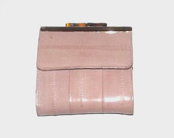 1970s leather wallet / vintage 70s billfold / eel leather / Blush Pink Leather Billfold Wallet