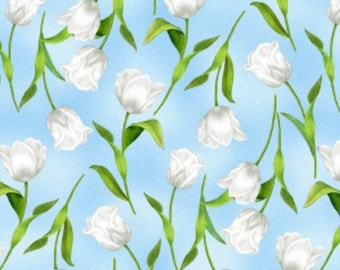 New ~ Tulips Blue Color ~ Garden Gathering by Jane Maday for Wilmington Prints, Quilt Cotton, Easter, Spring Fabric