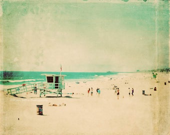 large wall art, beach photography, nostalgia, Hermosa Beach California lifeguard, surfer, aqua blue emerald green 24x36 print