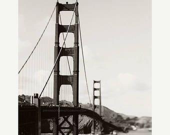 SALE black and white San Francisco photo, Golden Gate bridge print, California wall art, gray boys room decor, loft, travel west coast photo