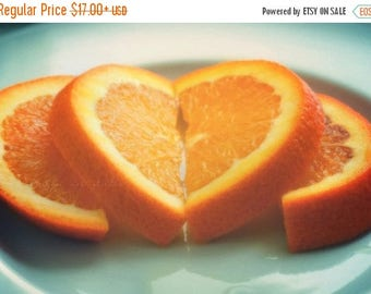 SALE Heart photograph, love on a sunday morning, romantic orange slices amore citrus fruit food photography, kitchen, kids room, Valentines