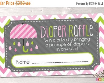 35% OFF SALE Printable Diaper Raffle Tickets Pink & Green Umbrella INSTANT Download Pdf