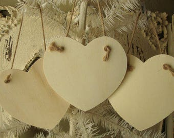 Wood hearts ornaments unfinished wooden hearts rustic DIY Valentine's Day ornaments supplies wood home decor kids crafts supply