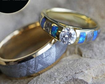 SALE - Unique Meteorite Wedding Ring Set, Diamond Cathedral Engagement Ring With Opal And Yellow Gold Wedding Band