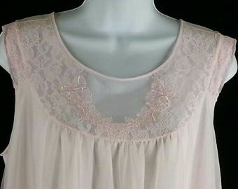 Vintage pink short nightgown chiffon nylon lace size medium m chest 40