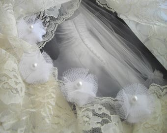 White Tulle Wedding Veil Weights Designed To Control Your Veil As Seen At Martha Stewart Wedding Party Embellishment Handmade  handcraftusa