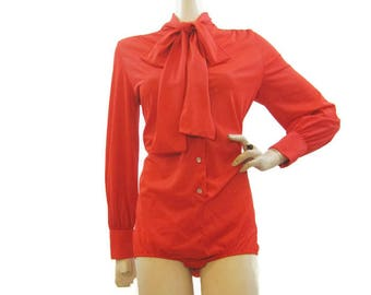 Vintage 70s Bodysuit Blouse Red Pussy Bow Nylon Onesie Pussybow  L