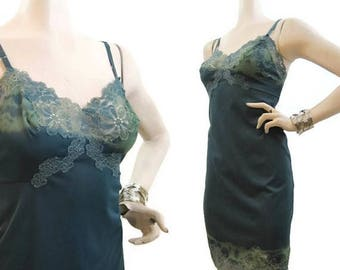 REDUCED Vintage Slip Hand Dyed Green Blue Nylon and Lace Full Slip 34 mini