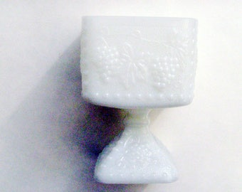 Vintage Milkglass Pedestal Dish / Pearl White Milk Glass Dish / Square 1970s Grape Cluster Milk Glass Planter / Gift Under 25
