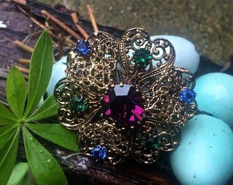 Gold filigree brooch  Blue, purple and green rhinestones,  costume jewelry, vintage filigree brooch, vintage jewelry, rhinestone pin