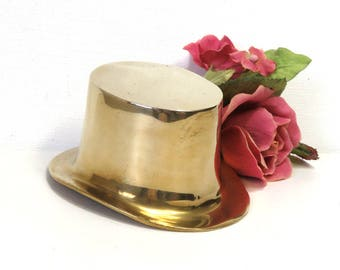 Brass Top Hat Paperweight/ Vintage Brass Decor