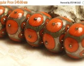 30% OFF Handmade Glass Lampwork Bead Set - 10705221 Six Coral w/Metal Dots Rondelle Beads