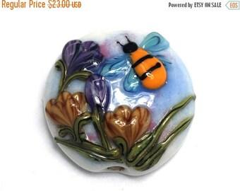 ON SALE 30% off Bumble Bee Dreams Lentil Focal Bead -  Handmade Glass Lampwork Bead 11830202