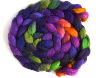 BFL Wool Roving - Hand Painted Spinning or Felting Fiber, Maypop