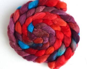 BFL Wool Roving - Hand Painted Spinning or Felting Fiber, Tangerine Dreams