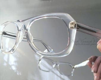 1980's True Vintage Aviator Goggle Clear Crystal Made in Israel Eyeglasses Eyewear Prescription Glasses Frames