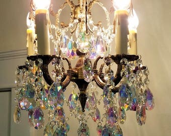 Antique Petite Chandelier, Small Crystal Chandelier, Aurora Borealis Crystal Chandelier, Antique Brass Chandelier, Vintage Lighting