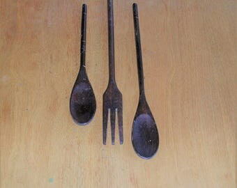 Antique Vintage Wood Wooden Fork and Spoons