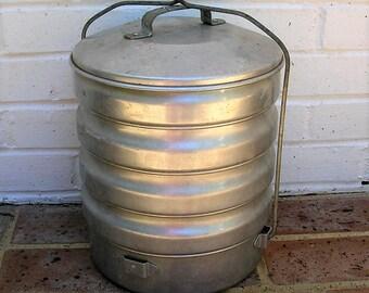 Antique Vintage Metal Lunch Box Antique Vintage Metal Lunch Pail A Buckeye Product Aluminum Basket