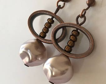Pale Lilac Baroque Pearl and Antique Bronze Earrings, Light Lavender Pearl Earrings