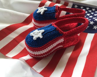 Crochet baby booties, patriotic baby booties, July 4th baby booties, crochet baby sandals, red, white and blue booties, newborn baby sandals