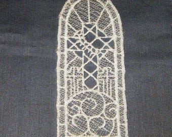 Lace machine embroidered Cross Bookmark, white