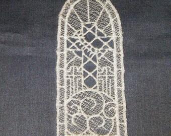 Lace machine embroidered Cross Bookmark, white