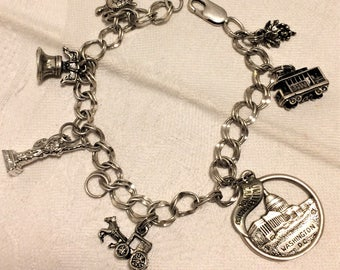 Vintage Sterling Travel Charm Bracelet Turtle, Liberty Bell, Statue of Liberty, Amish Buggy, Washington Monument, Trolley, Grapes. (JD15)