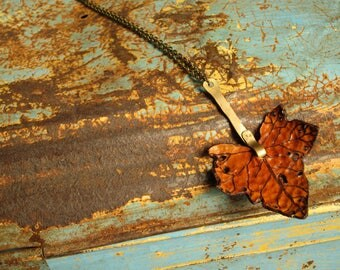 Leather Leaf Necklace Pendant Necklace English Ivy Leaf Handmade Brass Stem