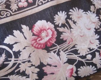 Antique French Fabric, Black Florals, Napoleon III Period, Mid 1800s Fabric, Antique Flowers, French Florals, Tissu Ancien, Napoleon Fabric