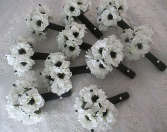 Custom order for.......Sara Gatto.....Silk Light Ivory Anemone with Inky Black Centers  Bridesmaids Wedding Bouquet