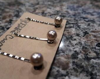 Champagne Pearl Bobby Pin Set - 3 Pearl Bobby Pins