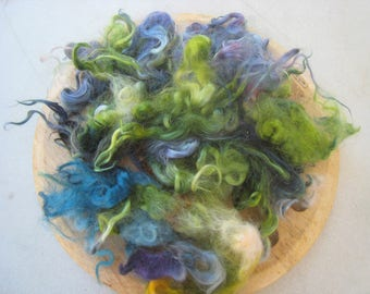 Hand Dyed Mohair Locks 1-Ounce 2-inch to 4-inch Lengths Wavy Luster Needle Felt Spin Blend Variegated Green Lavender Blue Soft