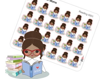 Planner Stickers Reading Small Icons Momo African American Black Girl