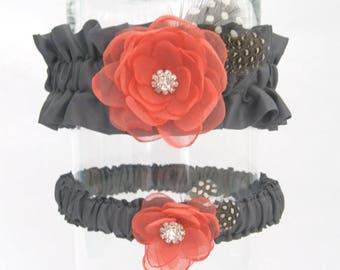 Wedding Garter Coral Gray, Flower Garter Set H160, Bridal garter accessories