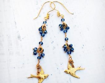 Blue Bird Earrings - 24k Gold Gemstone Earrings - Iolite Gemstones - Bird Earrings - OOAK - READY to Ship
