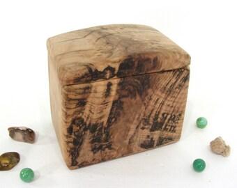 Maple Burl Heartwood Box, wood urn, small cremation urn, pet urn, valet box, wood art, anniversary, retirement gift, wooden jewelry box