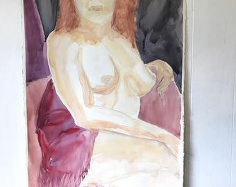 vintage original watercolor - nude woman painting - redhead female portrait