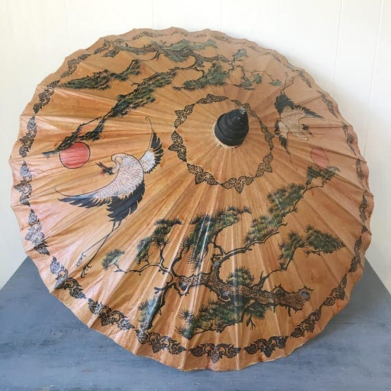 large oil paper parasol - Asian chinoiserie umbrella - engagement photo prop - wedding decor