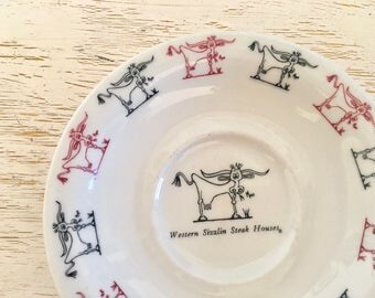 shenango china saucer from western sizzlin steak house with black and red cows - vintage restaurantware