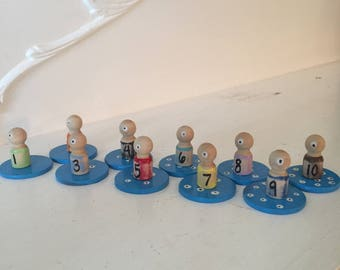My Monster Counting set waldorf peg people game educational numbers